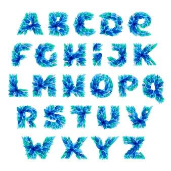 Алфавит, образованный брызгами голубой воды.