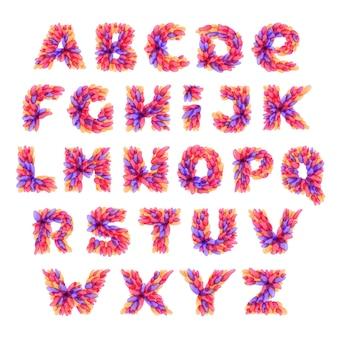 Алфавит, образованный акварельными вкраплениями.