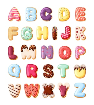 Alphabet fro sweet pastries set. colorful canddy font made from baked goods donuts with cream desert for kids decorative cakes letters numbers vector cartoon delicious