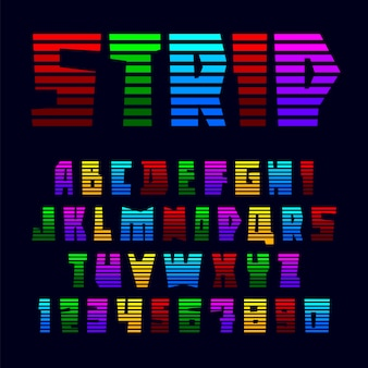 Alphabet from bright colored stripes