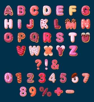 お菓子セットのアルファベット。焼き菓子やドーナツから作られた明るいフォントと、装飾的なケーキの文字と数字が付いた子供向けのクリーム色の教育用デザート。ベクトル漫画キャラメル。