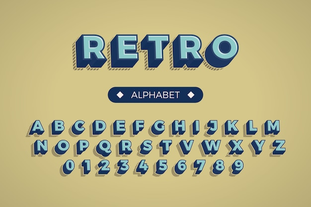 Alphabet from a to z in 3d retro concept