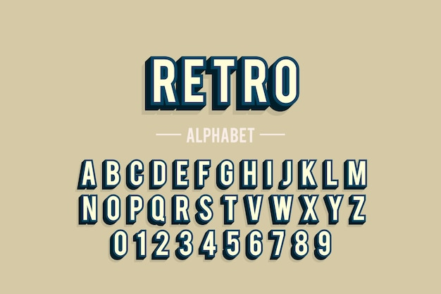 Alphabet from a to z in 3d retro design