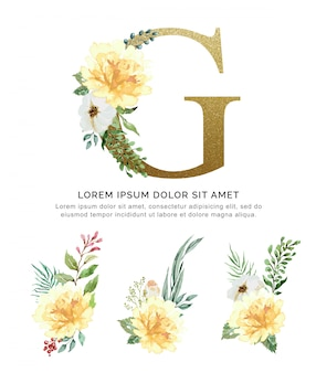 Alphabet g with bouquets flower collection watercolor.