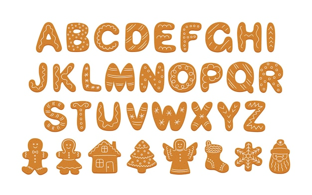 Alphabet of gingerbread cookies and decorated cookie shapes. cartoon alphabet for christmas new year. gingerbread man, woman, house, tree. hand drawn vector illustration isolated on white background