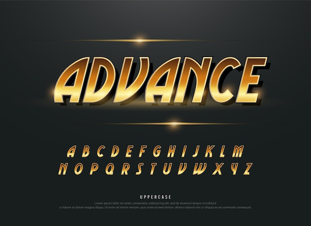 Alphabet gold metallic and effect designs. exclusive golden letters typography
