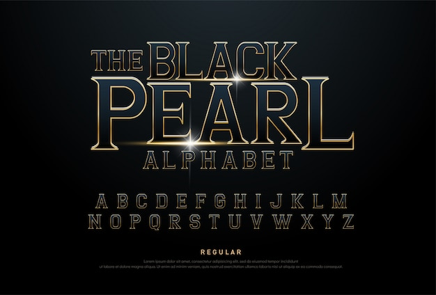 Alphabet golden metallic movie concept font