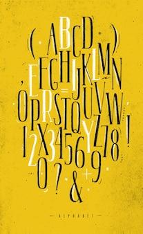 アルファベットゴシックフォント黄色