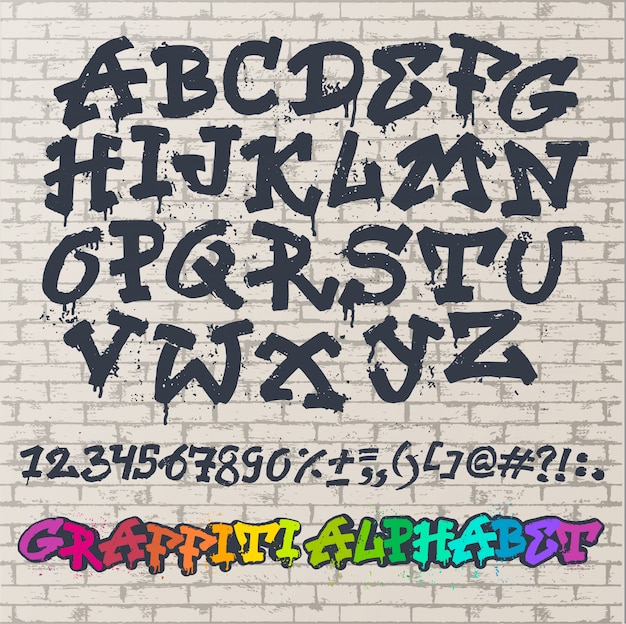 Alphabet graffity vector alphabetical font abc by brush stroke with letters and numbers or grunge alphabetic typography illustration isolated on brick wall space