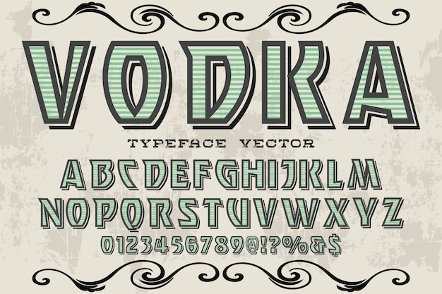 Alphabet graphic style vodka