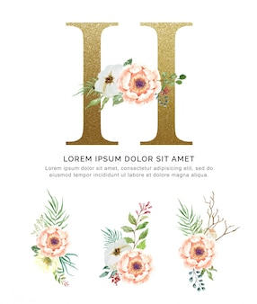 Alphabet h with bouquets flower collection watercolor.