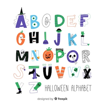 Alphabet of hand-drawn colors