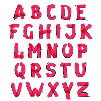 フェルトペンで手書きのアルファベット。ベクトルの赤いマーカーフォントは、ポスター、インテリア、またはプリントに使用できます。