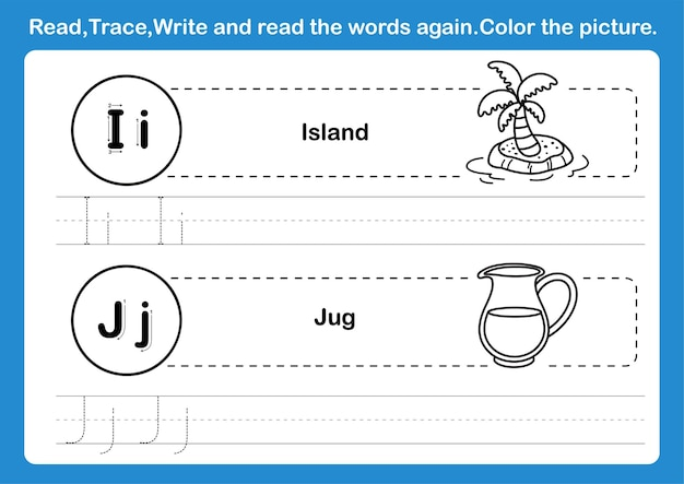 Alphabet i-j exercise with cartoon vocabulary for coloring book illustration