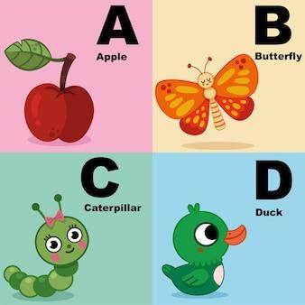 子供のためのアルファベットイラストセットabcdを含むアルファベットキットのベクトルイラスト