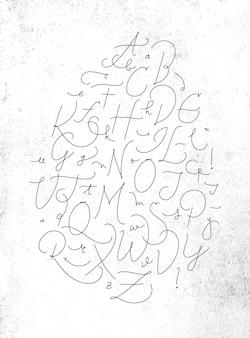더러운 종이 배경에 검은 색으로 그리기 붓글씨 펜 선 스타일의 알파벳