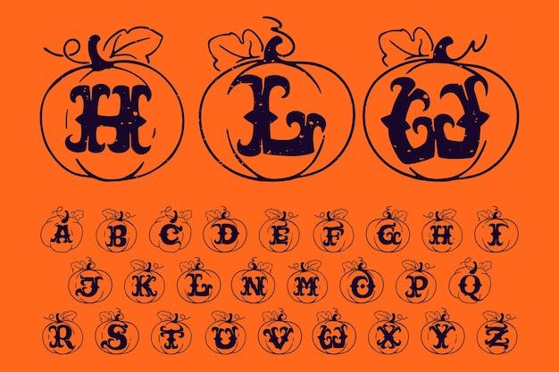 グランジテクスチャゴシックスタイルのフォントでカボチャのアルファベットハロウィーンのデザインに最適