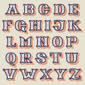 줄무늬 그림자가 있는 빈티지 서양식 알파벳입니다.