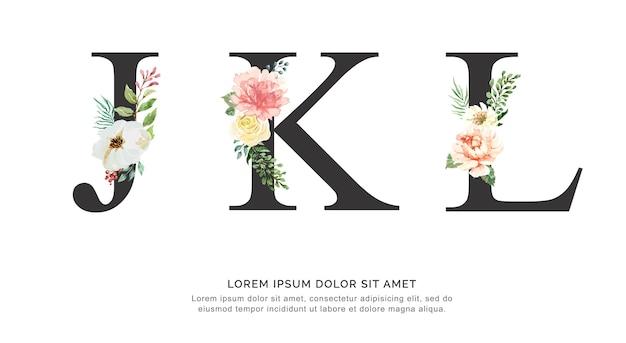 アルファベットjklの花と葉の水彩。