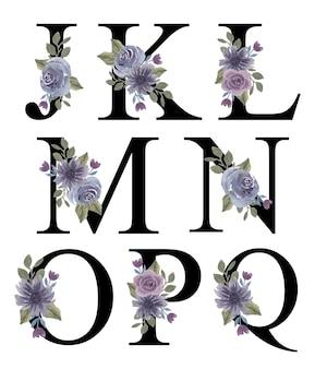 招待状を飾るための水彩紫の花の花束の飾りとアルファベットjqの初期デザイン