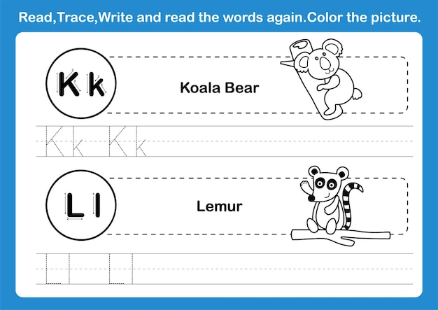 Alphabet k-l exercise with cartoon vocabulary for coloring book illustration