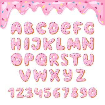 Алфавит дети алфавитный шрифт пончики abc с розовыми буквами и глазурованные цифры с глазурью или сладкой алфавитной типографикой для иллюстрации с днем рождения, изолированные на белом фоне