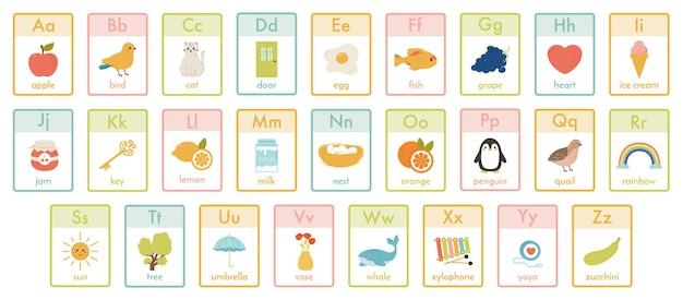 알파벳 어린이 카드. 유치원 abc 학습, 어린이 동물, 과일 및 장난감 벡터 일러스트레이션 세트. 아이들을 위한 귀여운 알파벳입니다. 학교 알파벳 카드, 미취학 아동을 위한 영어 편지