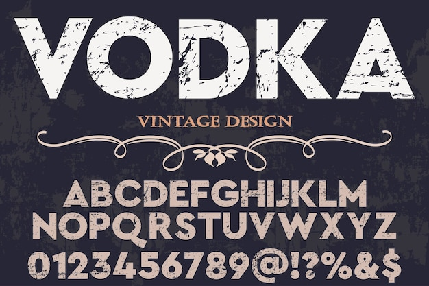 Alphabet label design vodka