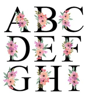 アルファベット文字a-私は紫桃水彩花の花束の装飾ベクトルコレクションでデザインします