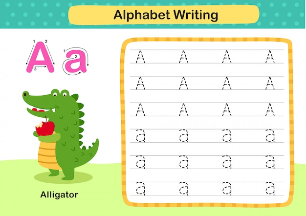 Alphabet letter a-alligator exercise with cartoon vocabulary illustration
