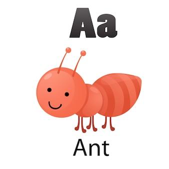 Alphabet letter a-ant