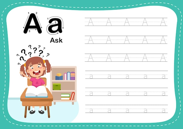 Alphabet letter ask exercise with girl vocabulary