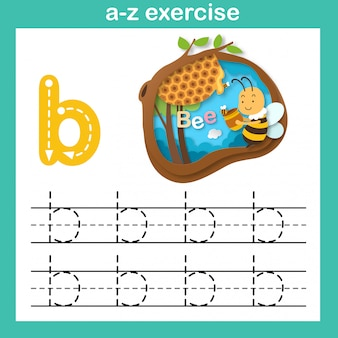 Alphabet letter b-bee exercise,paper cut concept vector illustration