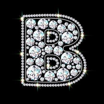 Алфавитная буква b из ярких сверкающих бриллиантов