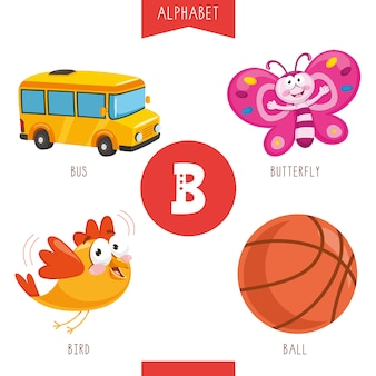 Alphabet letter b and pictures