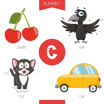 Alphabet letter c and pictures