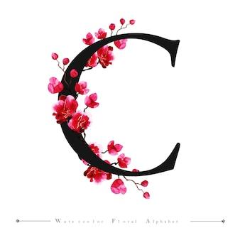 アルファベットの手紙c水彩の花の背景