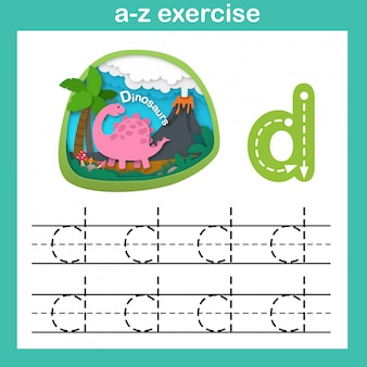 Alphabet letter d-dinosaur exercise,paper cut concept vector illustration