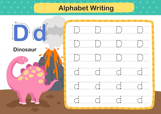 Alphabet letter d-dinosaur exercise with cartoon vocabulary illustration