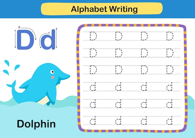 Alphabet letter d  dolphin exercise with cartoon vocabulary illustration