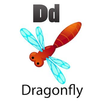 Alphabet letter d-dragonfly