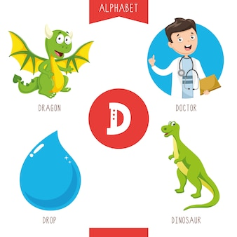 Alphabet letter d and pictures