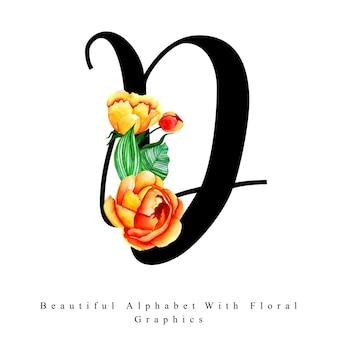 Буквенный алфавит d акварельный цветочный фон