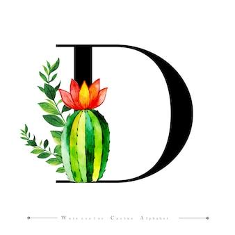 Буквовое письмо с буквой d с акварельным кактусом
