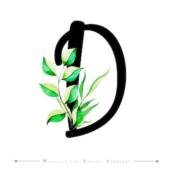 Буквенное письмо с буквой d с акварельными листьями