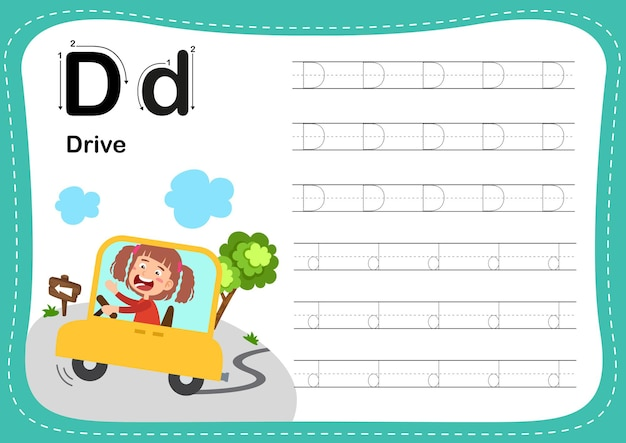 Alphabet letter drive exercise with girl vocabulary