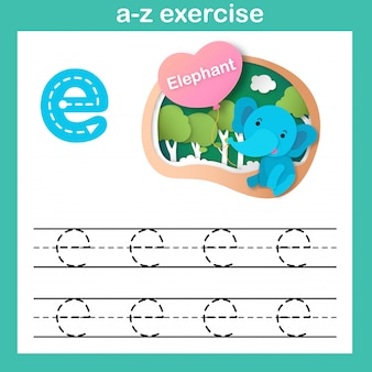 Alphabet letter e-elephant exercise,paper cut concept vector illustration