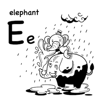 Alphabet letter e elephant  in hand drawn