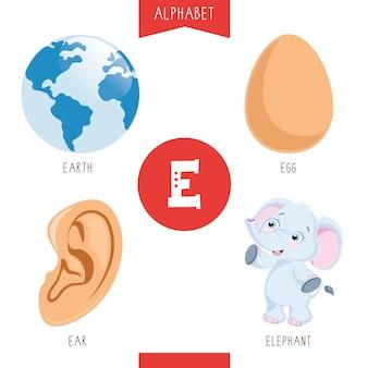 Alphabet letter e and pictures Premium Vector
