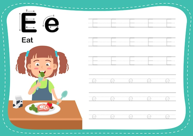 Alphabet letter eat exercise with girl vocabulary